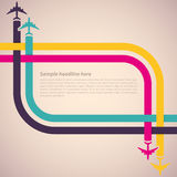 Background with colorful airplanes stock illustration
