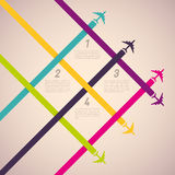 Background with colorful airplanes Stock Photos