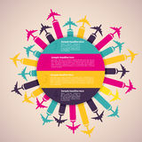 Background with colorful airplanes. Vector illustration royalty free illustration