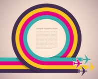 Background with colorful airplanes. Vector illustr Stock Photos