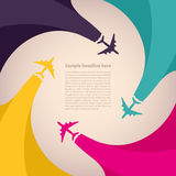 Background with colorful airplanes royalty free illustration