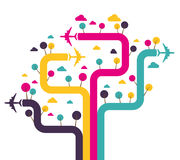 Background with colorful airplanes. Vector illustration stock illustration