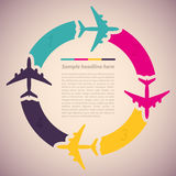 Background with colorful airplanes vector illustration