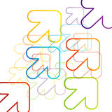 Background with colorful arrows pointing diagonally Stock Image