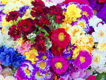 Background of colorful artificial flowers Royalty Free Stock Images