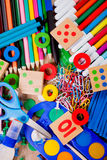Background of a colorful assortment of school supp Royalty Free Stock Images
