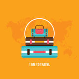 Background with colorful Bag Suitcases Tourism Vacation Travel planning concept Stock Photos