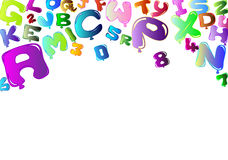 Background with colorful balloons in the shape of. White background with colorful balloons in the shape of letters and numbers Stock Photos