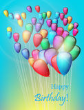 Background with colorful balloons in the sky, illustration. Greeting Card. Background with balloons in the sky, illustration Stock Images