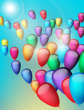 Background with colorful balloons in the sky, illustration. Greeting Card. Background with balloons in the sky, illustration Stock Photo