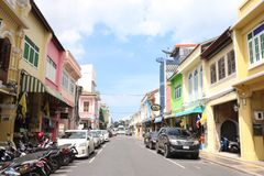 Background. Colorful building at Phuket town royalty free stock image
