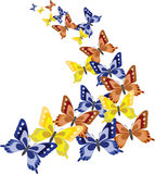 Background with colorful butterflies. Background with colorful butterfly. Vector illustration Stock Photo