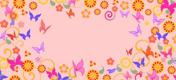 Background with colorful butterflies Royalty Free Stock Image