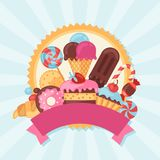 Background with colorful candy, sweets and cakes Royalty Free Stock Photos