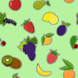 Background of colorful cartoon fruit icons Stock Images