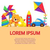 Background with colorful cartoon kids toys. Vector childhood concept illustration Stock Photo