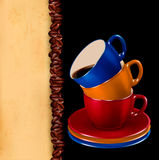 Background with colorful cups of coffee  Stock Image