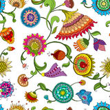 Background of colorful decorative flowers. Drawing a bright decorative floral pattern Royalty Free Stock Photography