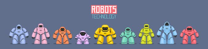 Background of Colorful Different Robots. Isolated on blue background Stock Photo