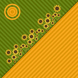 Background With Colorful Fields, Sunflowers And Sun Stock Photo
