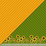 Background With Colorful Fields, Sunflowers And White Fence. Background With Colorful Fields, Abstract Sunflowers And White Fence Royalty Free Stock Image