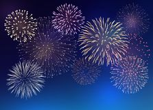 Background with Colorful Fireworks. Set of bright colorful fireworks, EPS 10 contains transparency Stock Photo