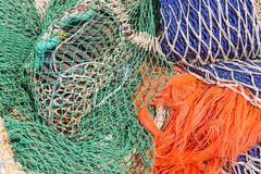 Background of colorful fishing nets Stock Photos