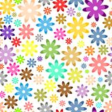 Background of colorful flowers of different colors and sizes on a white background stock illustration