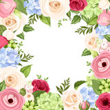 Background with colorful flowers. Vector illustration. Stock Image