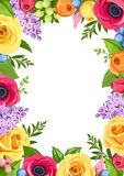 Background with colorful flowers. Vector illustration. Stock Images