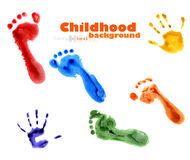 Background of colorful foot fnd hands prints Stock Image
