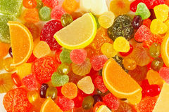 Background of colorful fruity candies and jelly closeup Royalty Free Stock Photos