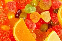 Background of colorful fruity sweetmeats and jelly close up Royalty Free Stock Photography