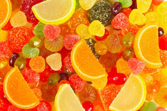 Background of colorful fruity sweets and jelly closeup Stock Photography