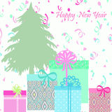 Background with colorful gift boxes , Christmas tree with text happy New year. Royalty Free Stock Photos