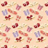 Background with colorful gift boxes, seamless pattern Royalty Free Stock Photo