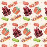 Background with colorful gift boxes, seamless pattern Stock Photography