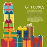 Background with a colorful gift boxes. Vector illustration Royalty Free Stock Photography