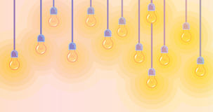 Background with colorful glowing light bulb. Colored royalty free illustration
