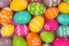 Background of colorful, hand painted Easter eggs Stock Photos
