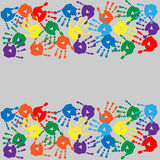 Background with colorful handprints Royalty Free Stock Image