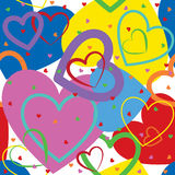 Background from colorful hearts. A lots of colorful heart shape on white background Stock Photos