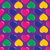 Background with colorful hearts on purple background. Pattern with colorful hearts on purple background vector illustration