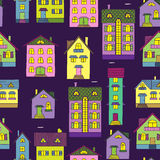 Background with colorful houses Stock Photos