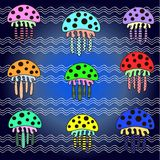 Background colorful jellyfish Royalty Free Stock Photos