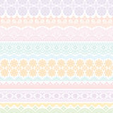 Background of colorful lace trims. Stock Photos