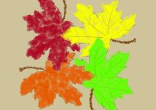 Background colorful maple leaves in an abstract style vector illustration