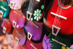 Background of colorful mexican guitars Stock Image