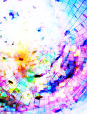 Background with colorful mosaic structure and music note. computer graphic design. Stock Image