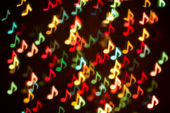 Background Of Colorful Music Notes Blurring Lights Bokeh Royalty Free